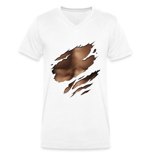 Mannen shirt scratch - Mannen bio T-shirt met V-hals van Stanley & Stella