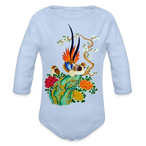 body manche longue oiseau et fleur - Body bébé bio manches longues