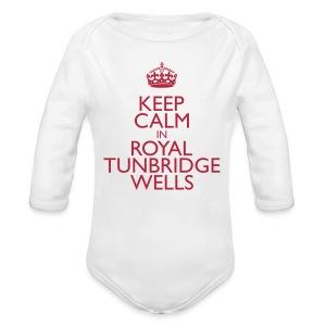 Keep Calm in Royal Tunbridge Wells - Organic Longsleeve Baby Bodysuit