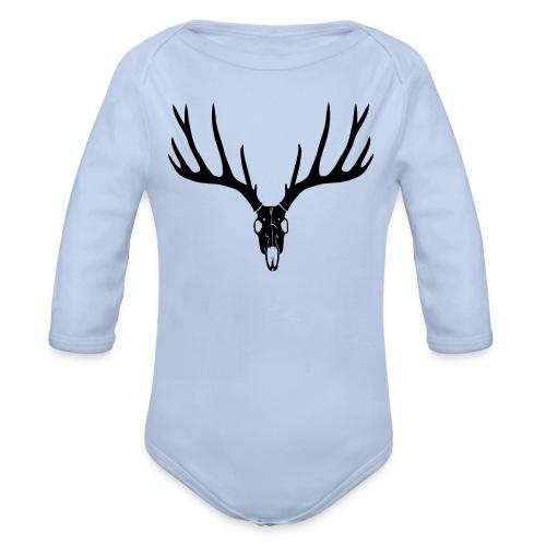 tiershirt t-shirt hirsch schädel skull brunft geweih elch stag antler jäger junggesellenabschied förster jagd - Baby Bio-Langarm-Body