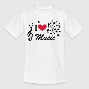 I love Music * music Treble Clef Heart star Shirts - Teenage T-shirt