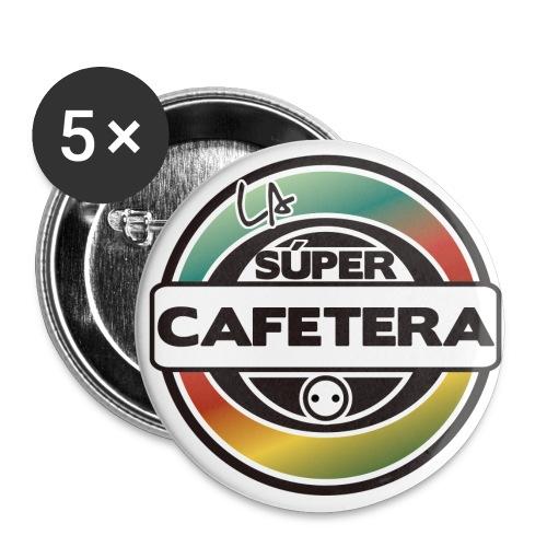5 chapas La Supercafetera - Paquete de 5 chapas grandes (56 mm)