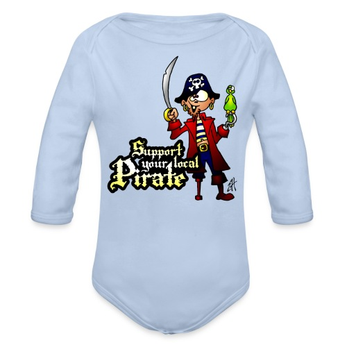 Support your local Pirate Hoodies - Organic Longsleeve Baby Bodysuit