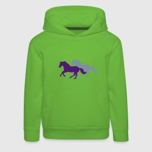 Two galloping horses - you can change all colours Bluzy - Bluza dziecięca z kapturem Premium