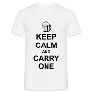T-Shirts ~ Men's T-Shirt ~ Keep Calm and Carry One (Beer)