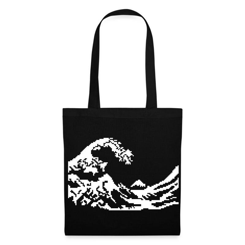 hokusai die welle pixel art weisse stoffbeutel spreadshirt. Black Bedroom Furniture Sets. Home Design Ideas
