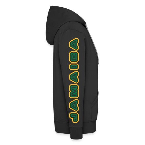 schw. Jamaica-Kaputzenjacke gelb-gruener Druck auf Ärmel - Männer Premium Kapuzenjacke