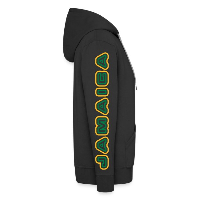 schw. Jamaica-Kaputzenjacke gelb-gruener Druck auf Ärmel