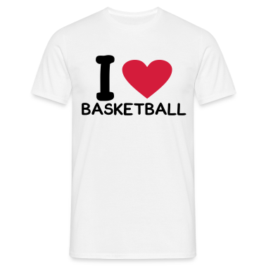 White i love basketball Men's Tees