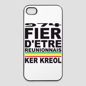Coque rigide iPhone 4/4S fier d'être Réunionnais - 974 Ker Kreol - Coque rigide iPhone 4/4s
