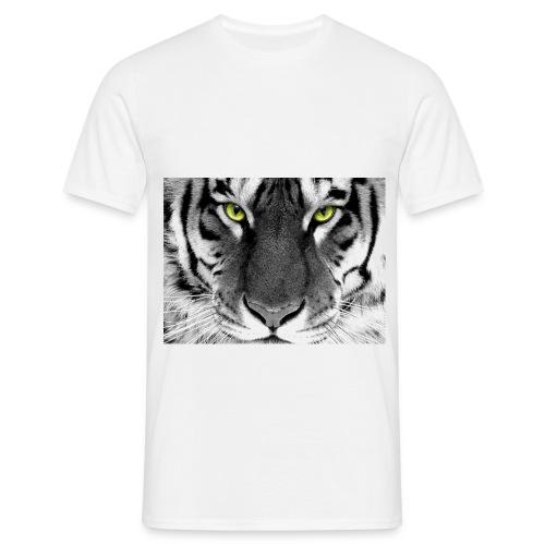HUGE Shirt: Tiger Eyes - White - For Men - Mannen T-shirt