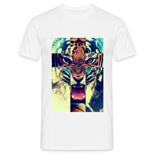 HUGE Shirt: Tiger Cross - White - For Men - Mannen T-shirt