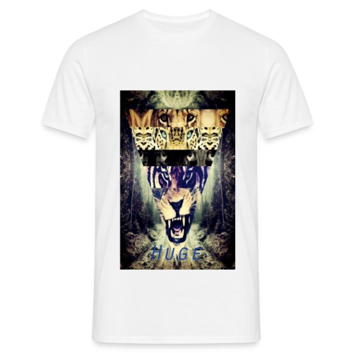 HUGE Shirt: Tiger Triangle - White - For Men - Mannen T-shirt