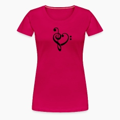 Bass clef heart, treble clef, music lover T-Shirts