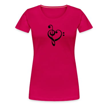 Bass clef heart, treble clef, music lover Camisetas