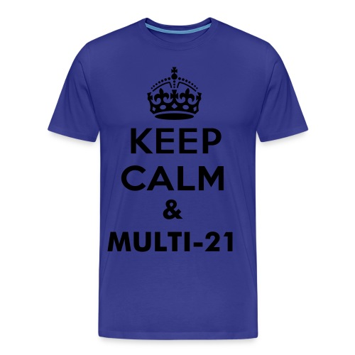 Multi-21 black on blue - Men's Premium T-Shirt
