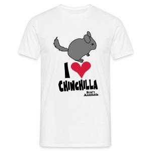 Basisshirt weiß mit Chinchilla - Männer T-Shirt