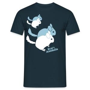 Basisshirt navy mit Chinchilla Pop Art - Männer T-Shirt