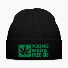 young wild and free weed leaf boxed Caps & Hats