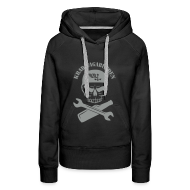 Pullover & Hoodies ~ Frauen Premium Kapuzenpullover ~ Kapuzenpulli Damen - Totenkopf, Pulle & Schraubenschlüssel (grauer Aufdruck)