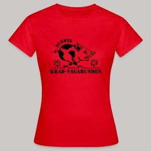 T-Shirt Damen: Glücksschwein (schwarzer Aufdruck) - Frauen T-Shirt