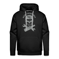 Pullover & Hoodies ~ Männer Premium Kapuzenpullover ~ Kapuzenpulli Männer - Totenkopf, Pulle & Schraubenschlüssel (grauer Aufdruck)