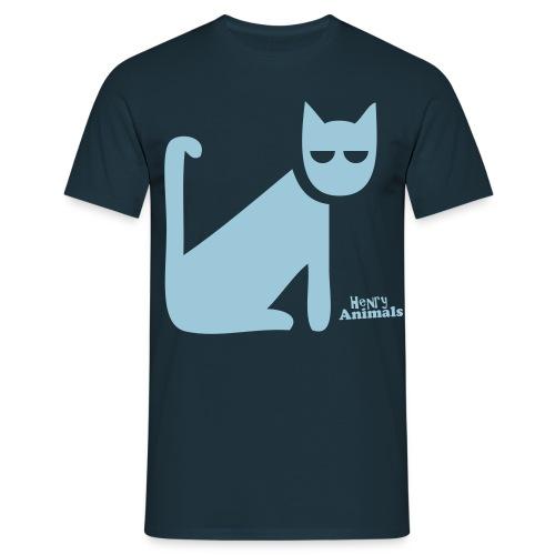 Basisshirt navy mit Katze - Männer T-Shirt