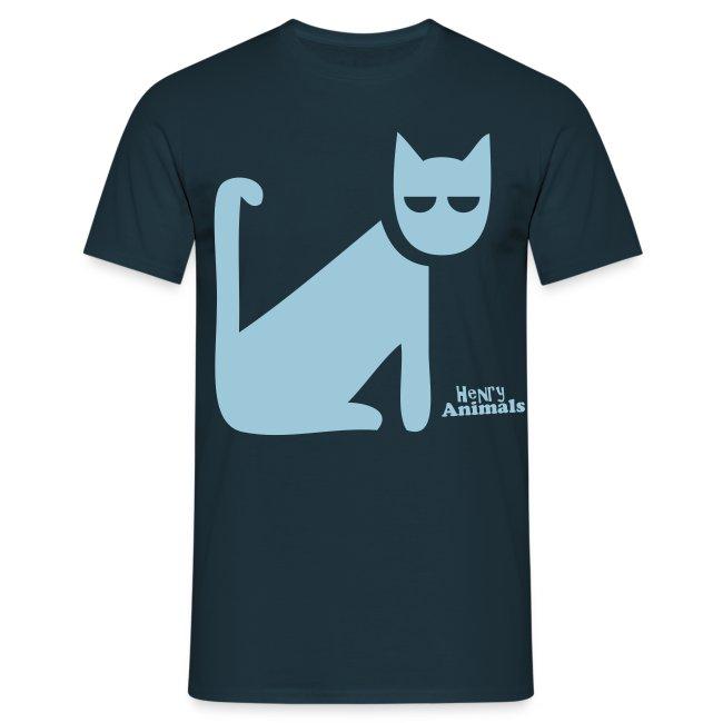Basisshirt navy mit Katze