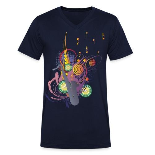 colours of Music - saxophon blau - Männer Bio-T-Shirt mit V-Ausschnitt von Stanley & Stella