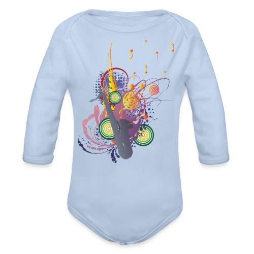 colours of Music - saxophon blau - Baby Bio-Langarm-Body