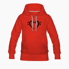 Bass Clef Heart - Glow in the Dark! Hoodies & Sweatshirts