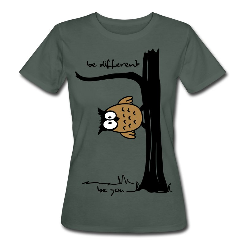 eule auf baum be different be you t shirt spreadshirt. Black Bedroom Furniture Sets. Home Design Ideas