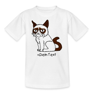 Grumpy Cat (+ Dein Text) 2c - Teenager T-Shirt