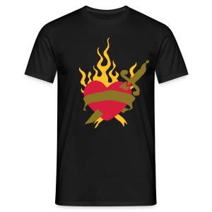 Heart with flames retro tattoo by patjila - Men's T-Shirt