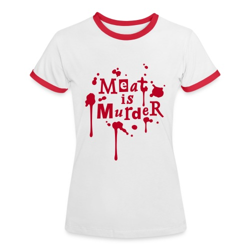 Womens Kontrast-Shirt 'Meat is Murder' - Frauen Kontrast-T-Shirt