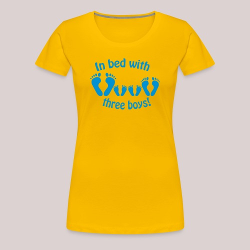 In bed with three boys - Im Bett mit drei Jungs - Frauen Premium T-Shirt
