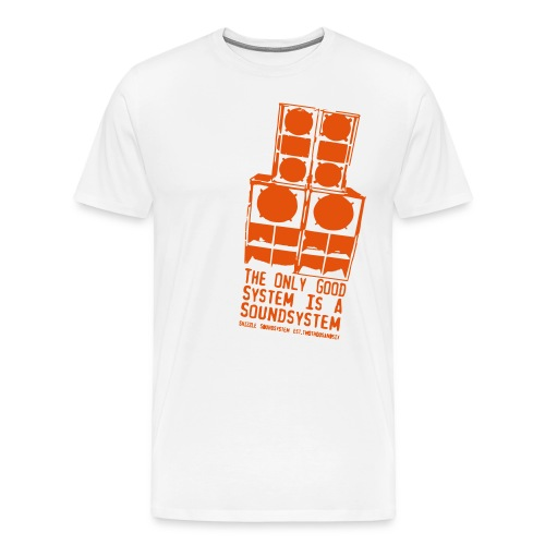 Männer Premium T-Shirt - we're a reggae and dancehall soundsystem from austria. we have a mixtape series where we spread good vibez. and the shirts represent our soundsystem speakers.