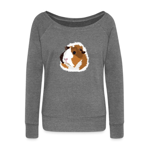 Retro Guinea Pig 'Elsie' Ladies Sweatshirt (no text) - Women's Boat Neck Long Sleeve Top