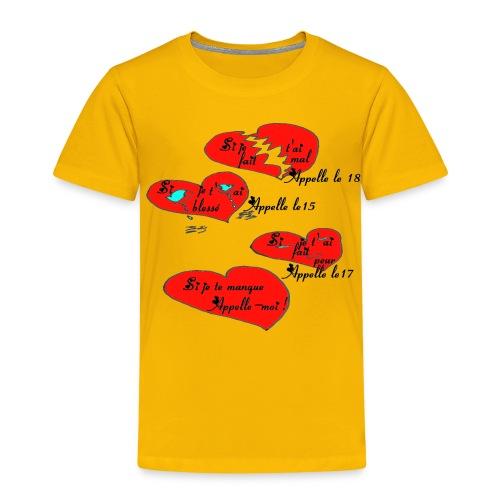 TS JAUNE HOMME PEUR MAL BLESSE APPELLE - T-shirt Premium Enfant