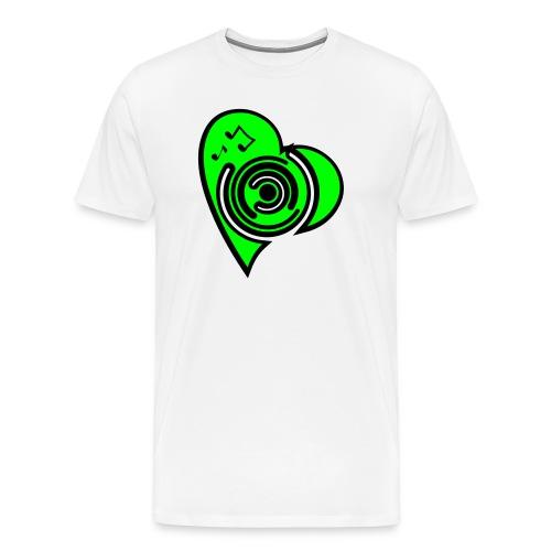 Herz T-Shirt weiß/neongrün - Männer Premium T-Shirt