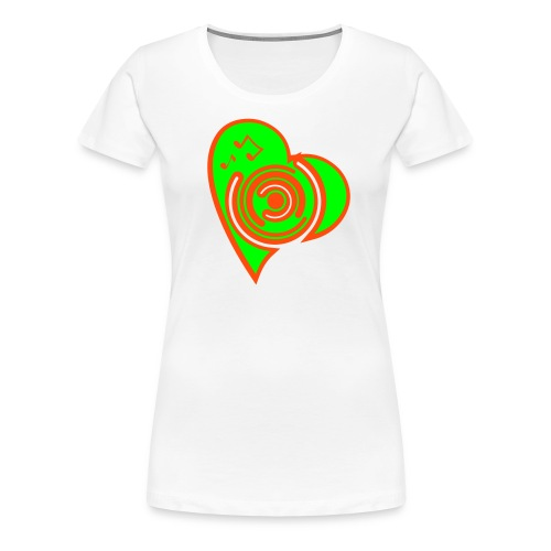 Herz Girlie weiß/neongrün - Frauen Premium T-Shirt