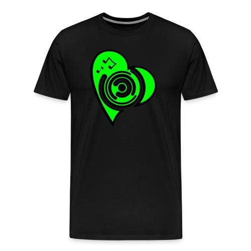 Herz T-Shirt schwarz/neongrün - Männer Premium T-Shirt