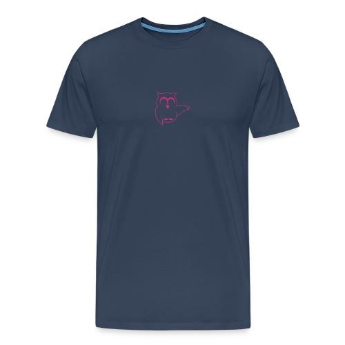 Eule Vorne, kleine URL unten am Rücken - Männer Premium T-Shirt
