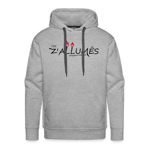 Sweat-shirt à capuche Premium pour hommes - Sweat-shirt gris à capuche Premium pour hommes Logo imprimé devant.  2017 - Les Z'allumés de Rodemack Compagnie Théâtrale