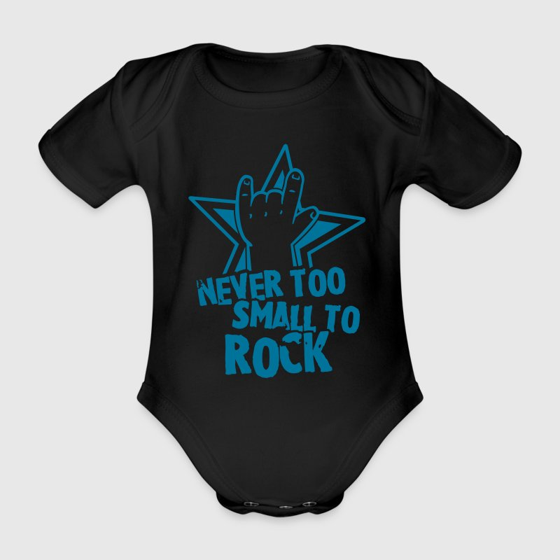 never too small to rock T-Shirts - Baby Bio-Kurzarm-Body