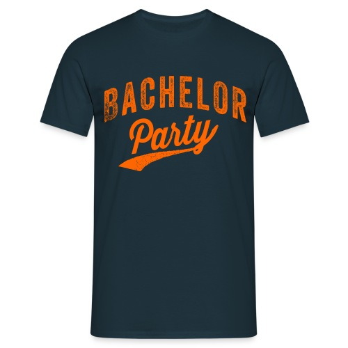 Bachelor Party shirt Navy met oranje tekst voor de man - Mannen T-shirt