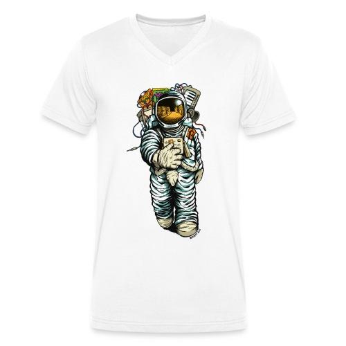 Men Shirt Astronaut + Insect + Logo - Men's Organic V-Neck T-Shirt by Stanley & Stella