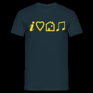 T-Shirts ~ Men's T-Shirt ~ I Love House Music (Symbolic, Yellow on blue, Flock - Velvety)