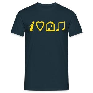 I Love House Music (Symbolic, Yellow on blue, Flock - Velvety) - Men's T-Shirt
