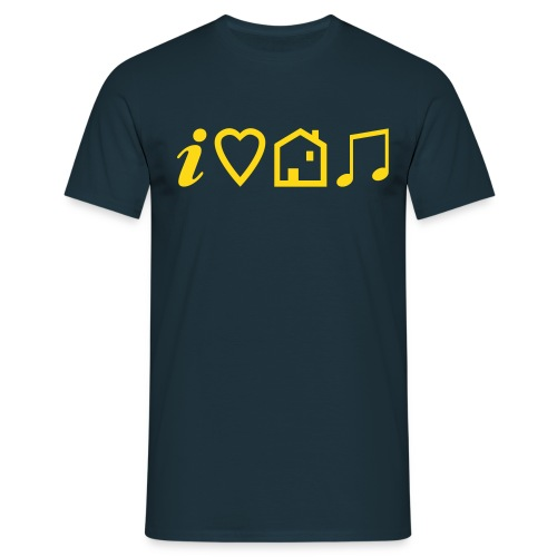 I Love House Music (Symbolic, Yellow on blue, Flock - Velvety) - Men's T-Shirt